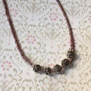 Handmade Beaded Flower Necklace